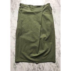 NWT Anthropologie Maeve Moss Green Paper Bag Skirt